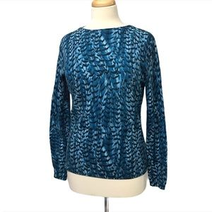 TALBOTS Blue Patterned High Crew Neck Sweater